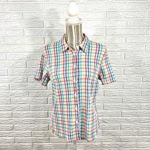 Vtg Lemon Grass Studio Multicolored Plaid Shirt